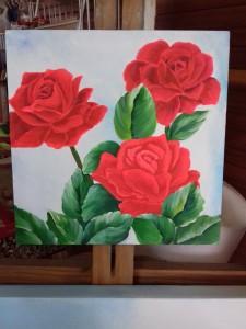 Pintura de rosas com pva acrílica sobre tela de mdf 20x20.